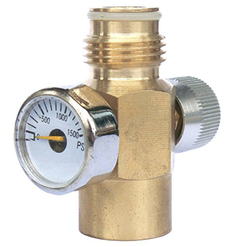 Paintball Gauge Psi (WUYASTA CO2 Cylinder Adapter On/Off Valve Inner Thread Tank Regulator with 1500 Psi Gauge Brass Made)