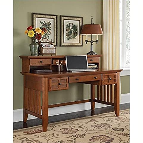 Home Style 5180-152 Arts and Crafts Executive Desk and Hutch, Cottage Oak Finish - Mission Style Corner
