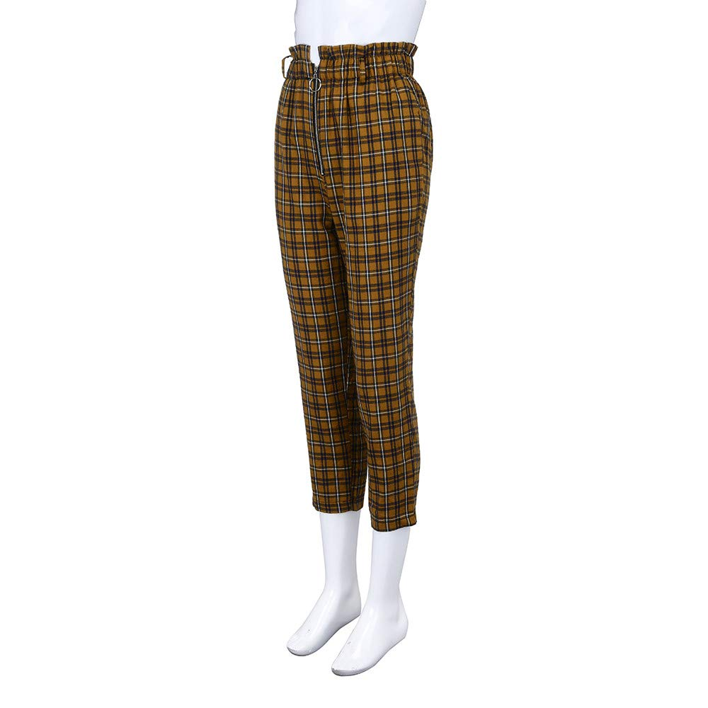 25d8c3e379 EraseSIZE Womens Elastic Waist Casual Pants Shein Exposed Zip Fly Plaid Peg  Pants Stylish and Attractive ...