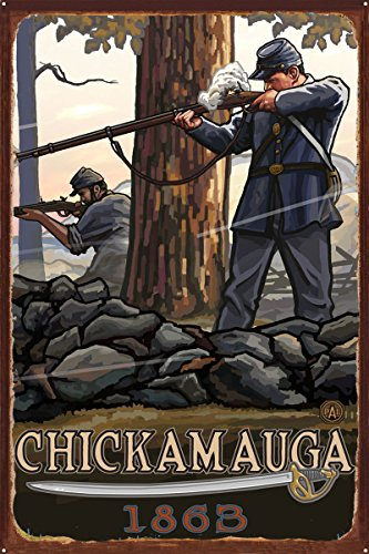 Chickamauga Geogia Civil War Rifleman Rustic Metal Art Print by Paul A. Lanquist (24