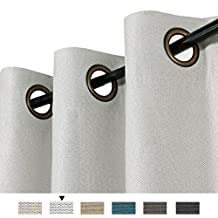 H.Versailtex Classical Grommet Top Winter Thermal Insulated Textured Tiny Plaid Linen Finishing Innovated 85% Blackout Bedroom Curtains, 52 by 63 Inch - Greyish white(1 Panel)