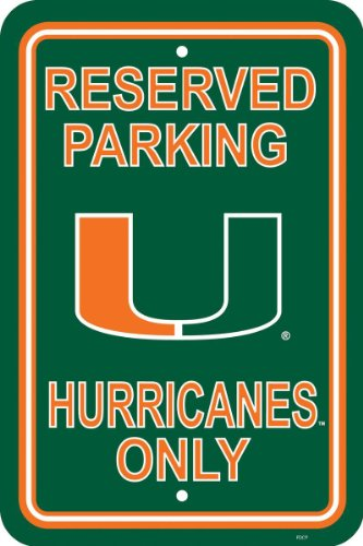 NCAA Miami Hurricanes 12-by-18 inch Plastic Parking Sign Ncaa Miami Hurricanes Street Sign