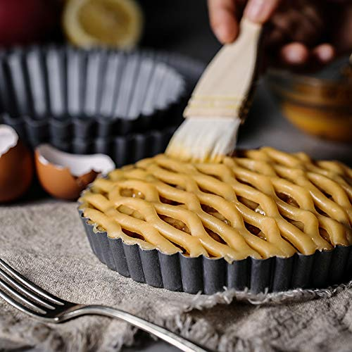 Non-Stick Removable Loose Bottom Quiche Tart Pan,Round Tart Quiche Pan with Removable Base,8-Inch by bingcheng (Image #6)