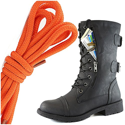 Botas De Combate De Cordón Militar De DailyZapatos Para Mujer Con Cordones Mid Knee High Exclusivo Bolsillo De Tarjeta De Crédito, Twlight Naranja De Color Negro