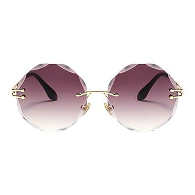 f48d3d9175 Meijunter Lunettes De Soleil Femmes,Oversized Rimless Diamant Coupe  Lentille Mode Designer Lunettes