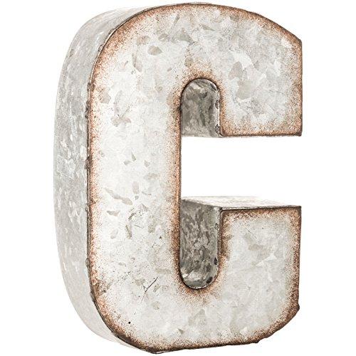 Galvanized Steel Wall - Galvanized Metal 3D Letter C