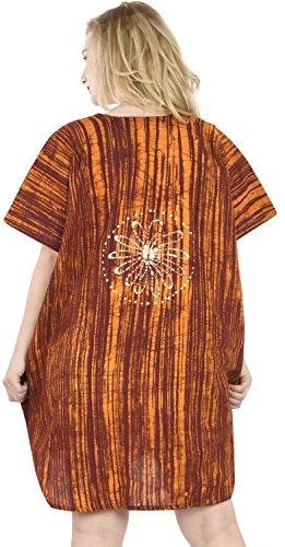 La Leela 5 en 1 superior del 100% algodón batik túnica vestido de noche traje de baño del bikini kimono encubrir loungewear ropa de playa corto caftán marrón vestido de noche de las mujeres