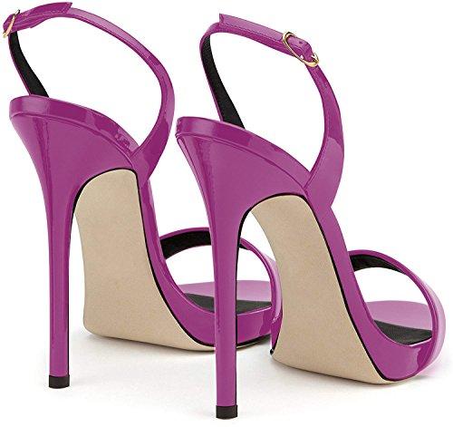 Sandali Caviglia Sandali elashe Cintura Donna della Tacco Sandali Viola Scarpe con Alto da 12CM della 8qOzp8nU