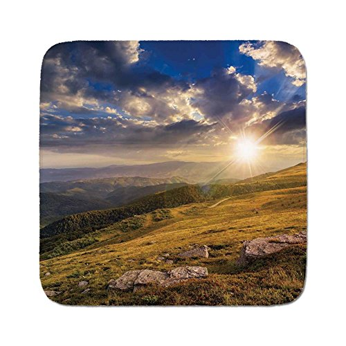 Cozy Seat Protector Pads Cushion Area Rug,Nature,Mountain Hills Landscape with Bright Sun Lights on Meadow Misty Rural Panorama,Blue Amber Dust,Easy to Use on Any Surface