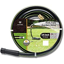 """Worth Garden 5/8"""" x 50ft Water Hose - Durable Non Kinking Garden Hose - PVC Material With Brass Hose Fittings - Flexible Hose For Household And Professional Use"""