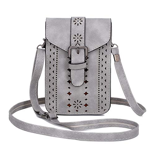 WOZEAH Roomy Pockets Series Small Crossbody Bag Cell Phone Purse Wallet For Women (grey)