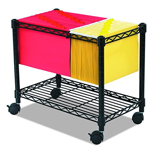 Safco Products Wire Mobile Letter/Legal File Cart 5201BL, Black Powder Coat Finish, Collapsible For Compact ()