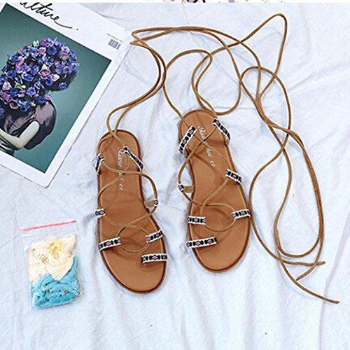 ... Transer® Damen Flach Sommer Stiefel Mehrfarbig Leder+Gummi Kreuzgürtel  mit Quast Outdoor Sandalen da0bf9788f