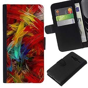 KLONGSHOP // Tirón de la caja Cartera de cuero con ranuras para tarjetas - Cepillo de pintura colorida ilustraciones óleo moderna - Samsung Galaxy Core Prime //