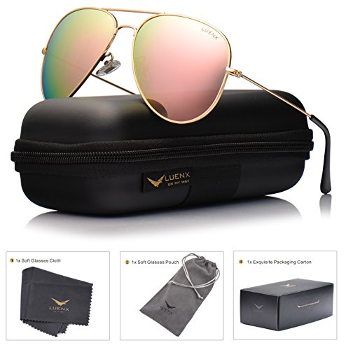 LUENX Aviator Womens Mens Sunglasses Polarized Pink Mirrored lenses Gold Frame UV 400 Protection Fashion Style