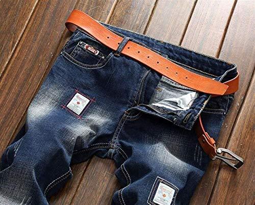 Nostalgia Pantaloni Teal Ssig Tide Da Denim In Alla T Slim Casual Straight Jeans Moderna Cowboy Cotone Uomo Classici Crest Moda Original Blau vnqgHnBS