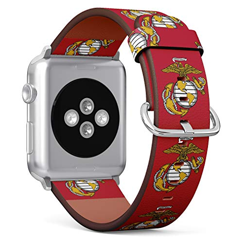 S-Type iWatch Leather Strap Printing Wristbands for Apple Watch 4/3/2/1 Sport Series (42mm) - USMC Marine Corp Eagle, Globe, and Anchor Symbol