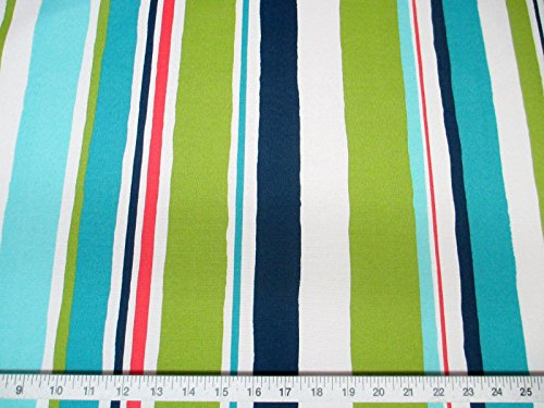 Discount Fabric Robert Allen Outdoor Upholstery Baja Stripe EM Turquoise By the Yard - Fabric Stripe Outdoor Upholstery