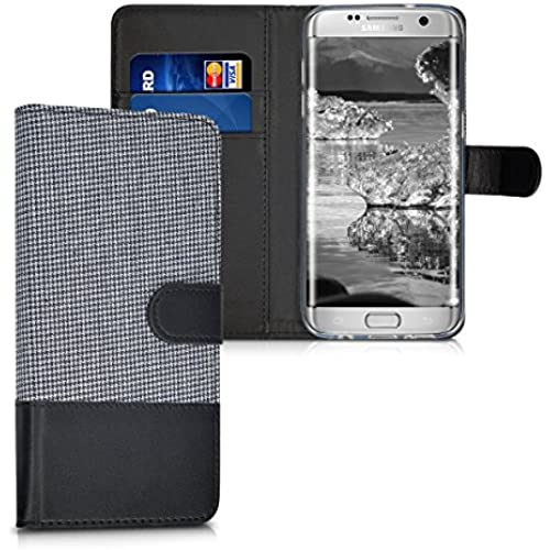 kwmobile Wallet case canvas cover for Samsung Galaxy S7 edge - Flip case with card slot and stand in white black Sales