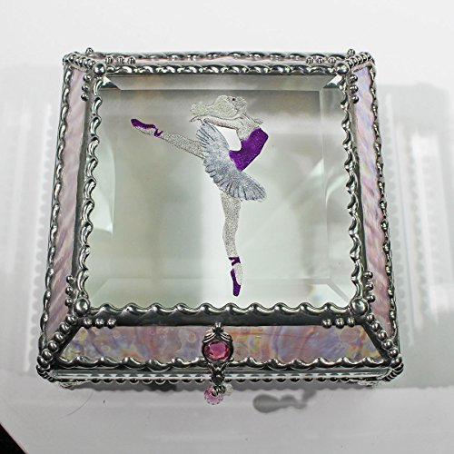 Ballerina 5X5 SILVER Jewelry Box by Glass Treasure Box