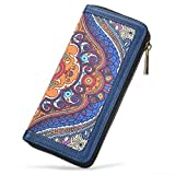 Women Canvas Zipper Clutch Purse Credit Card Wallets to Organize Your Cash,Bnak Card,and Phone with Removable Wristlet Strap
