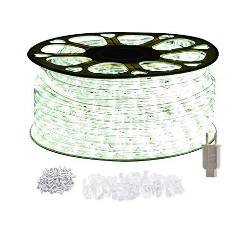 (STARSHINE 120V LED Rope Lights,Connectable Waterproof LED String Lights Kit for Patio, Backyard, Garden, Wedding, Christmas Party, Indoor and Outdoor Decorations, UL Listed (100FT/30M, White) )