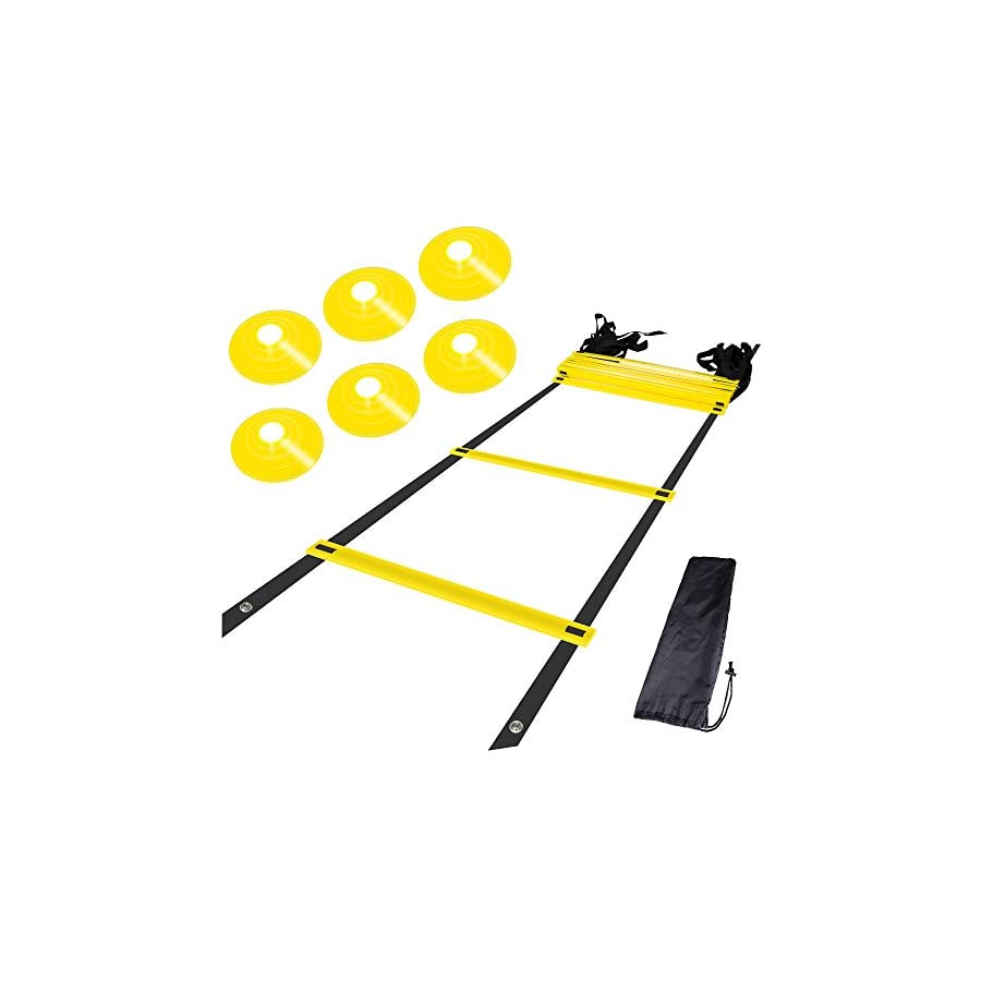 KingLiDa Agility Ladder Bundle 6 Sports Cones, a Set of 12 Adjustable Rungs Durable Training Ladders Soccer, Speed, Football