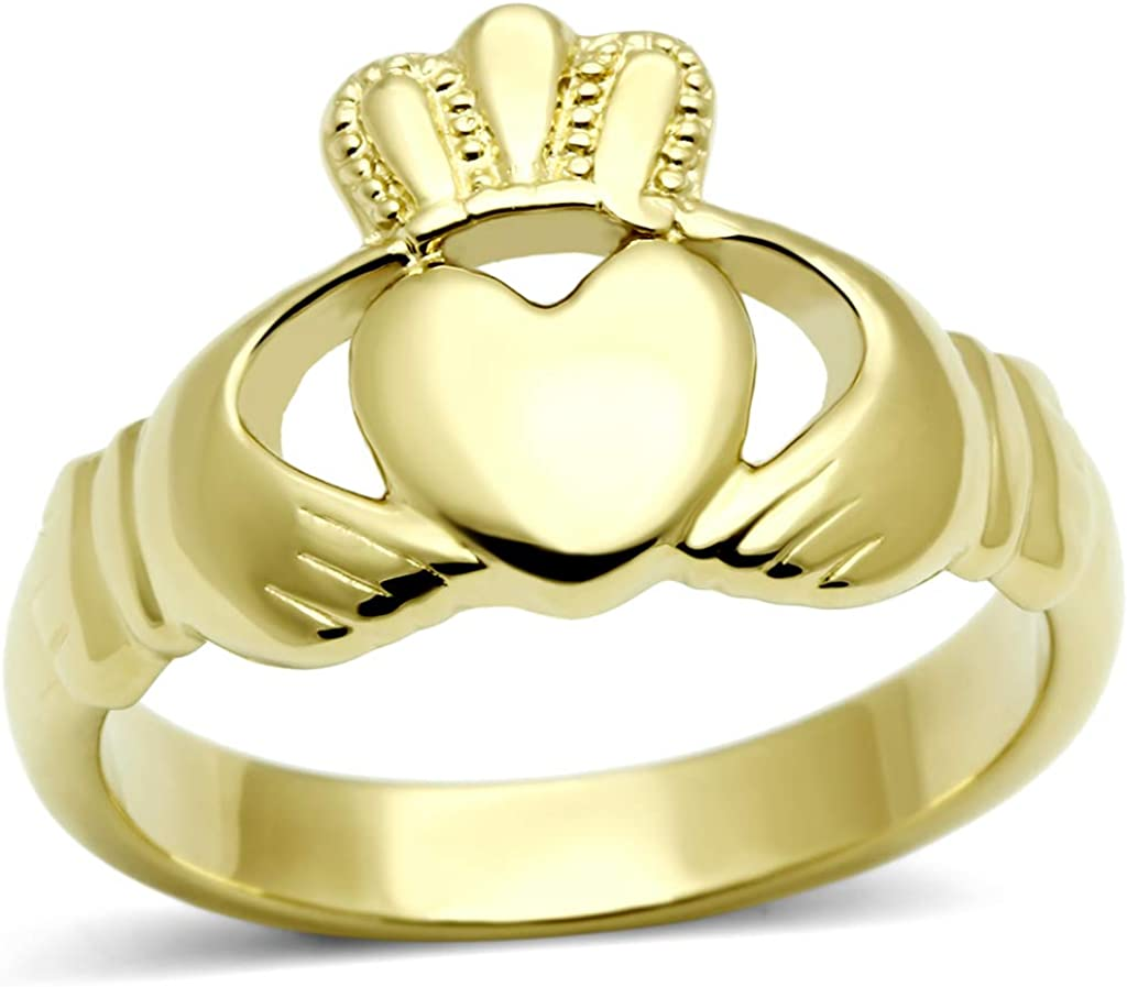 Eternal Sparkles Women's Stainless Steel Ion Gold-Plated Claddagh Ring