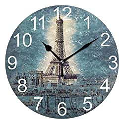 Wamika France Eiffel Tower Round Wall Clock Battery Operated Non Ticking Silent Romantic France Paris Clock Acrylic Quartz Decorative Clocks for Home School Office