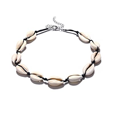 b12f6a236b66 Collar bohemio de conchas de playa para mujer Negro  Amazon.es  Joyería