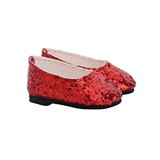 Fityle Multicolor Princess Sequin Shoes for American Girl 18inch Doll Clothes DIY Accessories Red