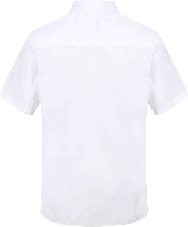 ChicWhisper Girls 2 Pack Slim Fit Easy to Iron Short Sleeve Blouse School Shirt