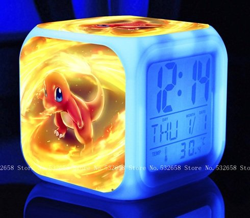 POKEMON PIKACHU Cartoon Games Action Figure 7 Colors Change Digital Alarm LED Clock Cartoon Night Colorful Toys for Kids (Style 14)