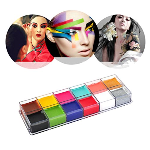 Body Paint Oil Palette, Molie Professional Face & Body Painting Art Party Fancy Make Up Set-12 Colors Palette ()
