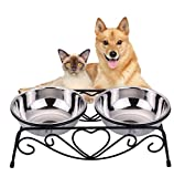 VIVIKO Pet Feeder for Dog Cat, Stainless Steel Food and Water Bowls with Iron Stand (Small)