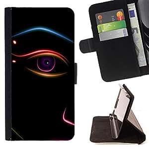 BullDog Case - FOR/Samsung Galaxy S5 Mini, SM-G800 / - / Abstract Eye Minimalist Face /- Monedero de cuero de la PU Llevar cubierta de la caja con el ID Credit Card Slots Flip funda de cuer