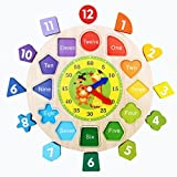 Novelty Wooden Time Learning Clock, friendGG Digital Geometry Shape Sorting Puzzle Clock DIY Gift for Toddlers Baby Kids Wisdom Development Educational Toy (22.5*22.5CM, shown as the pictures)