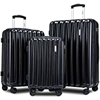 3-Piece Romatpretty Luggage Sets with 3-Level Retractable Handle (Black Trunk)