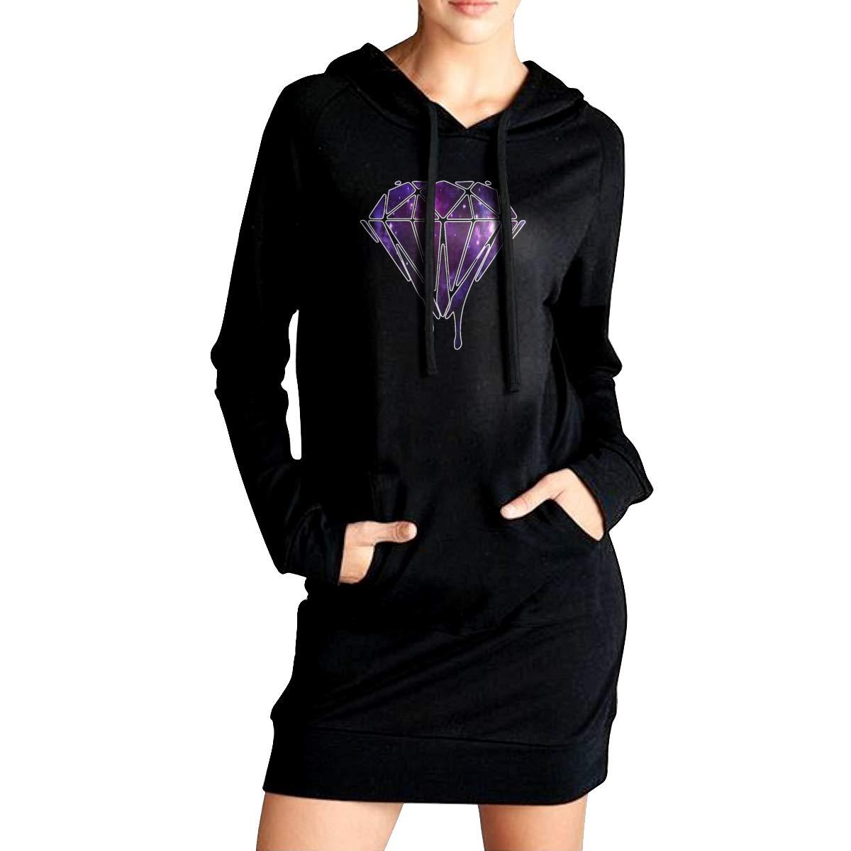 Northern Nebula Diamonds Womens Long Sleeve Hoodie Tunic Dress Solid Pullover Loose Sweatshirt Long Tops