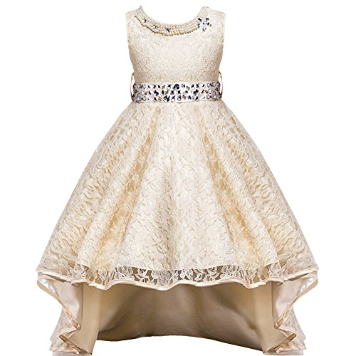 Flower Girls Vintage Overlay Lace Beaded Rhinestone Wedding Tulle Dresses Maxi High Low Gown Dance Tutus
