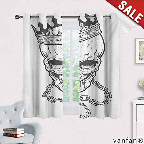 Vibrant Hamsa Necklace (Big datastore King Curtains,Sketchy Skull with Crown Hip Hop Street Style Necklace Chain Gem Image Print for Living Room Dining Room,Charcoal Grey White W55 x L72)