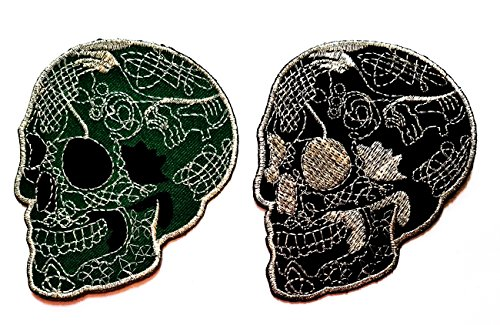 Nipitshop Patches Set 2 Pcs Skull day of the dead Patch Green Black Sugar Skull Tattoo Rock Punk Dead Colorful Applique Iron on Patch for Clothes Costume or (Day Of The Dead Costume Australia)