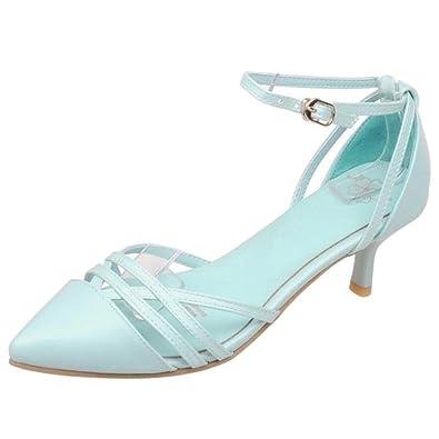88e670af102 Coolcept Women Elegant Pointed Toe Court Shoes Thin Heel Sandals Blue Size  34 Asian