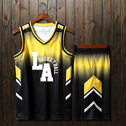 jaunenoir XL(165-170) CTAO Maillot De Basket-Ball pour Homme Décontracté à Manches Courtes T-Shirt De Sport Haut + courtes Costumes Mis Costumes De Basket Jersey Costumes D'entraîneHommest rouge-4XL(180-185)