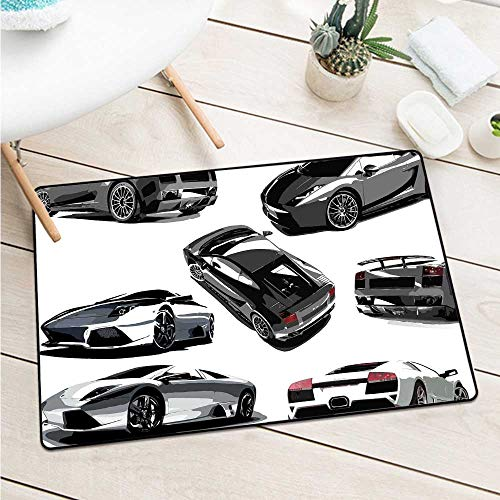 Wang Hai Chuan ModernGrey Cars from Various Angles Automobile Industry Theme Vehicle for entrances garages patios W29.5 x L39.4 Inch Pale Sage Green Black White
