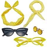 50's Costume Accessories Set Chiffon Scarf Cat Eye Glasses Bandana Tie Headband and Earrings (OneSize, Yellow)