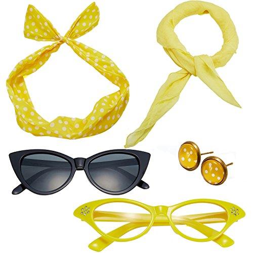 50's Costume Accessories Set Chiffon Scarf Cat Eye Glasses Bandana Tie Headband and Earrings (OneSize, Yellow)]()