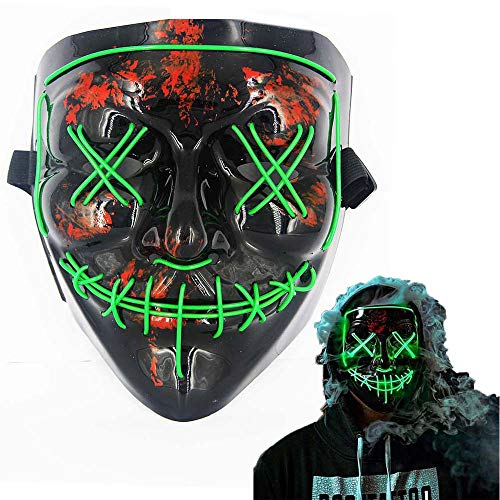 LED Halloween Mask Halloween Scary Cosplay Light up Mask for Festival Parties -
