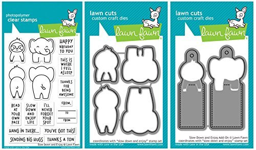 Lawn Fawn - Slow Down and Enjoy - Elephant & Sloth Stamp, Die and Add-On Set - 3 Item Bundle