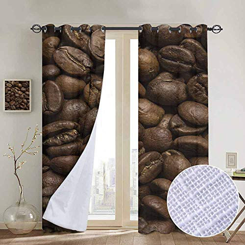 """NUOMANAN Blackout Curtain Panels Window Draperies Coffee,Flavored Roasted Arabica Beans Ready for Brew Fresh Drink of Mocha for Robust Breakfast,Brown,for Bedroom, Kitchen, Living Room 84""""x100"""""""
